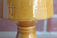 Gold Chalice Planter with Embossed Crosses