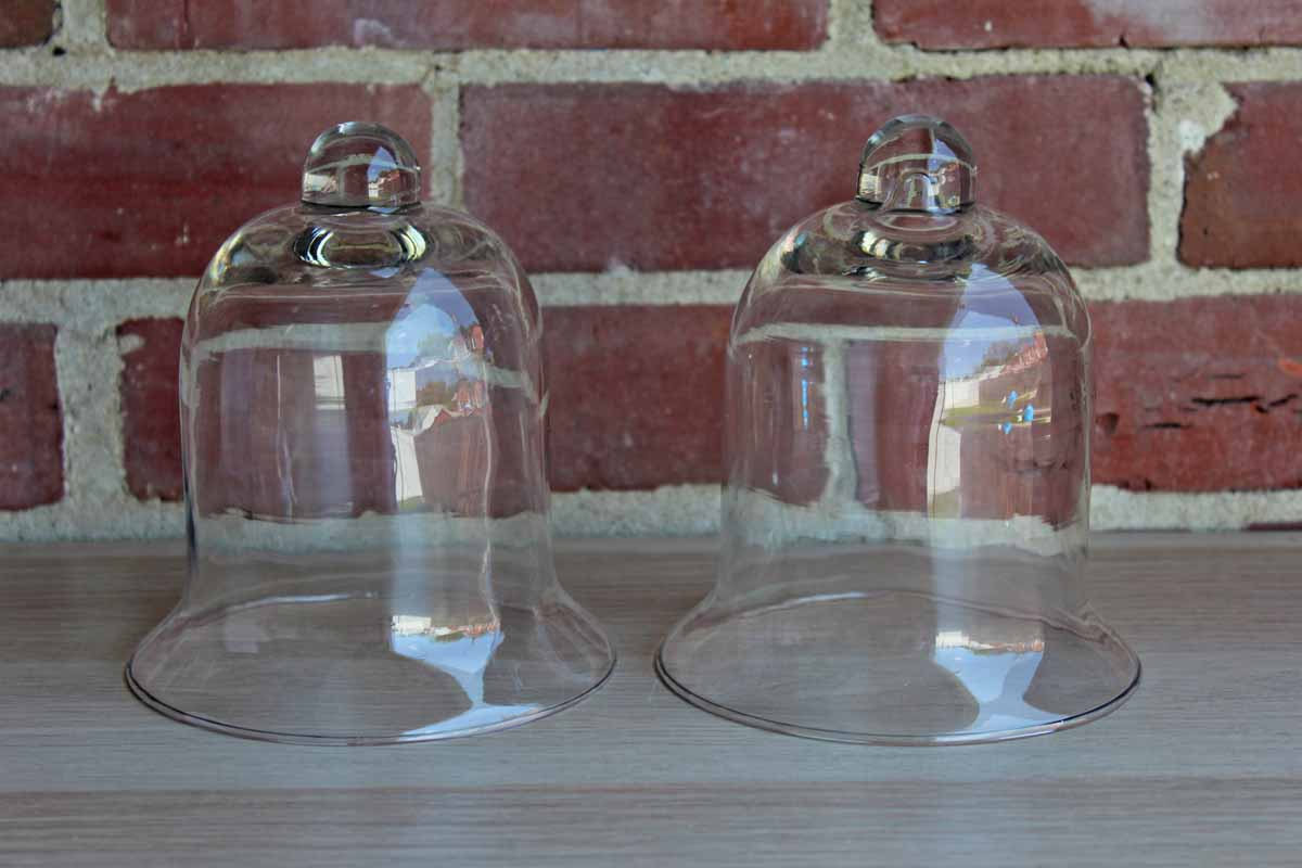 Clear Glass Cloches, A Pair
