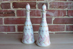 I.W. Rice & Company, Inc. (Made in Japan) Handpainted Ceramic Decanters, A Pair