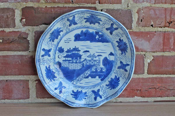 Chinese Blue and White Plate with Wavy Scalloped Edges and Landscape Scene