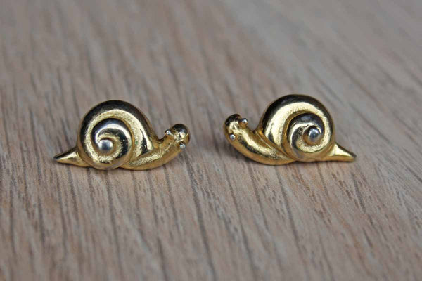 Gold Tone Snail Shaped Pierced Earrings