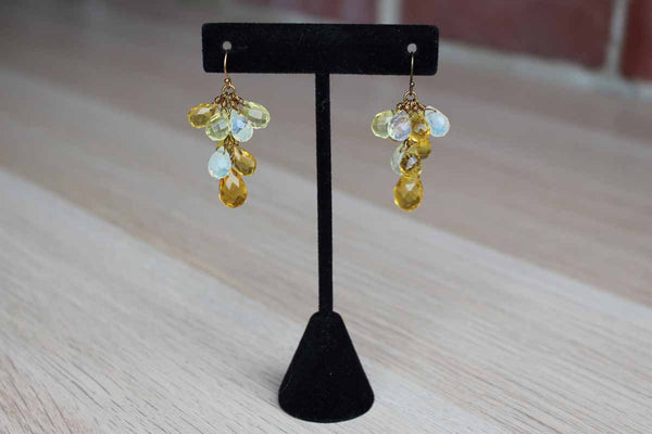 Dangling Glass Cluster Pierced Earrings
