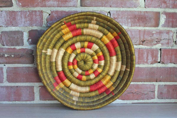 African Coil Weave Shallow Hangable Basket