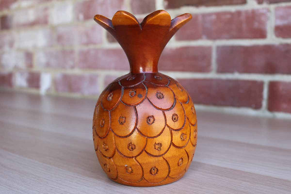 Carved Wood Pineapple Candleholder and Frilled Toothpick Holder
