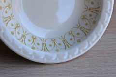 Syracuse China (Syracuse, New York) Small Side Bowls with Textured Rim and Gold Flowers, Set of 12