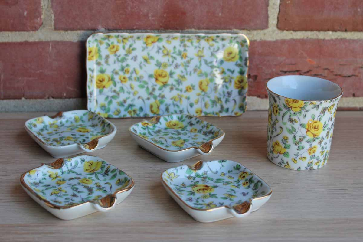 Lefton China Yellow Chintz Floral Cigarette Set