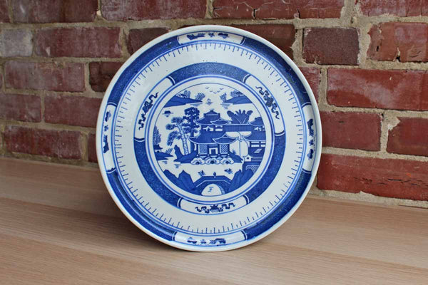 Blue and White Dish Decorated with a House and Landscape Scene