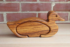 Zebrawood Handcrafted Duck with Storage Box