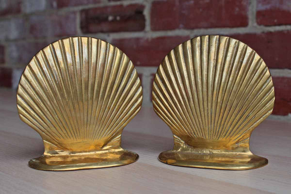Brass Scallop Seashell Bookends