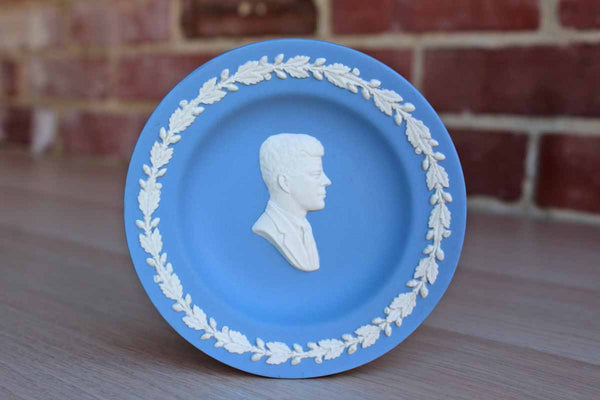 "Wedgwood (England) Blue Jasperware 4 1/2"" Pin Dish Featuring Profile/Bust of President John F. Kennedy Surrounded by Leaves and Acorns"