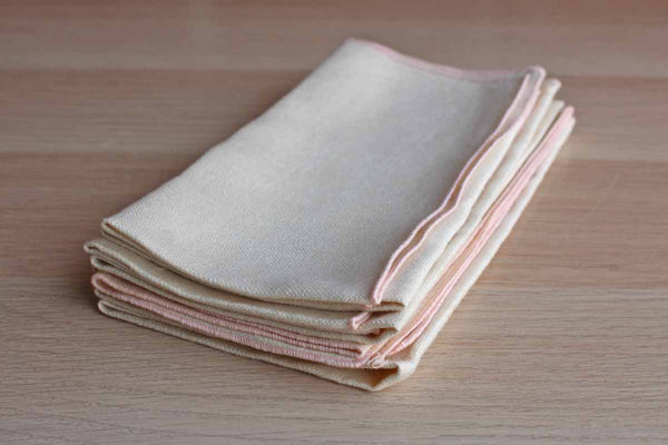 Cream Linen Napkins with Bound Pink Edges, Set of 4