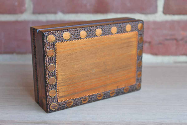 Wood Lidded Box with Inlaid Brass Designs Made in Poland