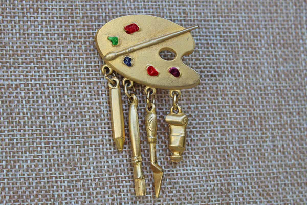 Jonette Jewelry (Rhode Island, USA) Gold Tone Paint Palette with Dangling Tools Brooch