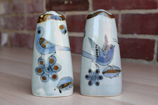 Ken Edwards Pottery (Tonala, Mexico) Handmade Salt and Pepper Shakers Decorated with Birds and Flowers
