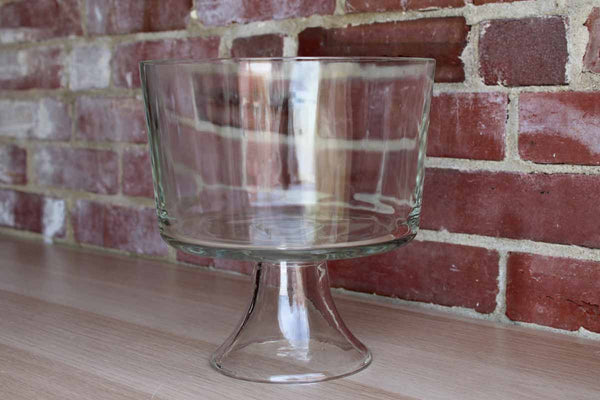 Large Glass Bowl with Flared Pedestal Base