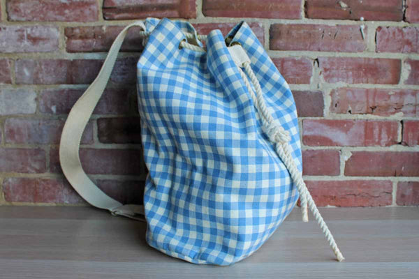 Laura Ashley (Founded in Kent, United Kingdom) Blue Gingham Canvas Single Strap Drawstring Backpack