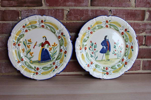 Ethan Allen (Handcrafted in Italy) Quimper-Style Ceramic Plates, A Pair
