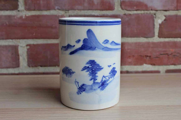 Ceramic Cylindrical Container with Simple Blue and White Landscape Scene