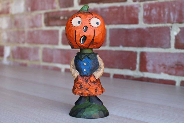 Cast Resin Pumpkin Bobblehead Figurine
