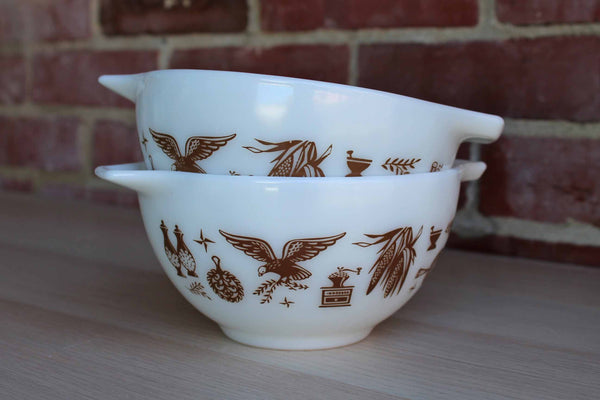Corning Inc. (New York, USA) Pyrex Early American Brown Cinderella Bowls, A Pair