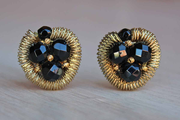 Black Faceted Glass Bead and Gold Metal Non-Pierced Button Earrings