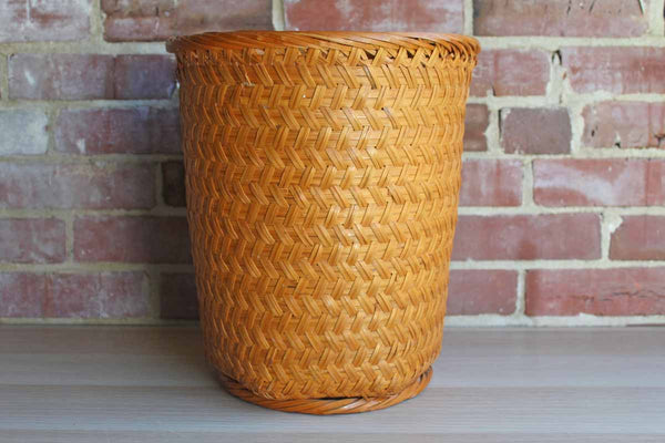 Sturdy Handwoven Tall Storage or Waste Basket