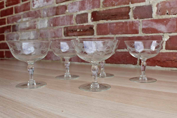 Clear Dessert Glasses Decorated with Etched Flowers, 5 Pieces