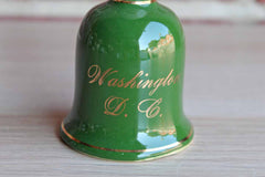 Ceramic Green and White Souvenir Bell from Washington, D.C.