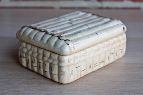Gold and Cream Ceramic Bamboo Lidded Trinket Box