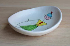 Ceramic Trinket Dish Featuring an Abstract Man Jumping Rope, Made in Italy