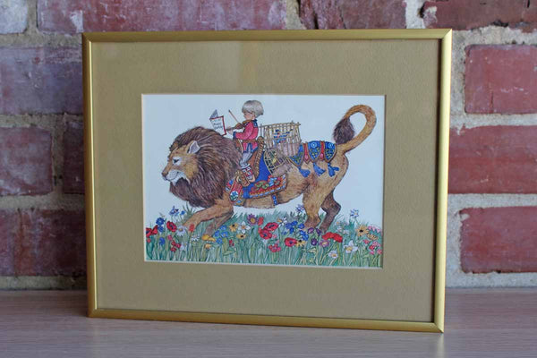 Custom Framed Color Print of a Boy and His Lion