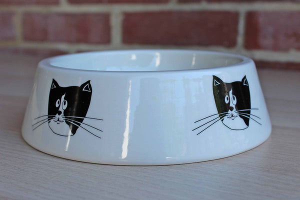 Ceramiche (Italy) Ceramic Water or Food Bowl with Tuxedo Cats