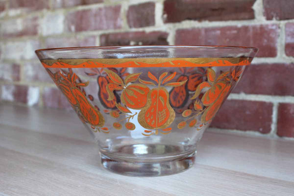 Large Glass Serving Bowl Decorated with Gold and Orange Fruit