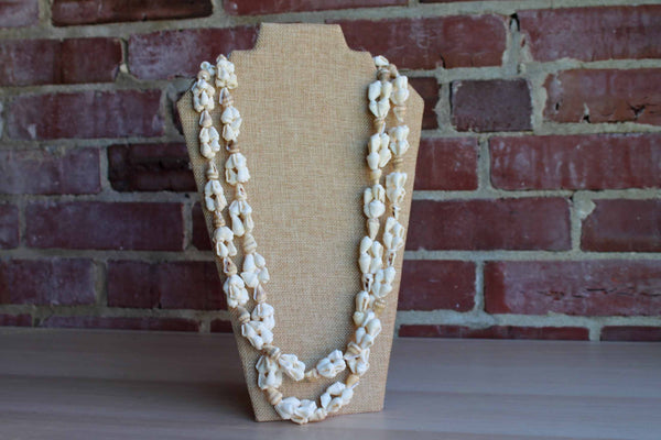 Long Ivory and Striped Conical Shell Necklace