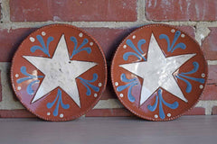Wisconsin Pottery (Wisconsin, USA) Two Redware Dishes with Stars
