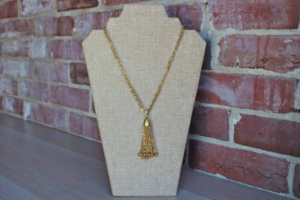 Trifari (USA) Gold Tone Double Chain Necklace with Dangling Gold Tassel