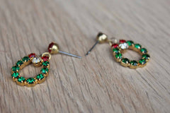 Red, Green, and White Rhinestone Dangling Wreath Pierced Earrings