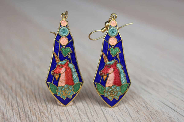 Colorful Enameled Dangling Earrings with Unicorn Design