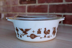 Corning Inc. (New York, USA) Pyrex Early American Brown and White Casserole with Lid
