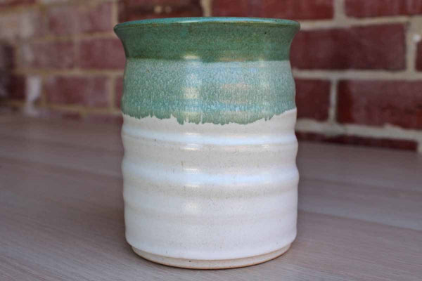 Handmade Green and White Stoneware Container
