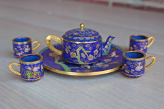 Miniature Brass and Enamel Cloisonne Tea Set