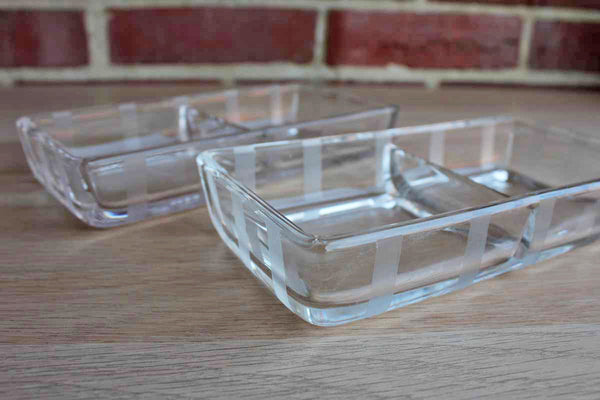 Clear Glass Divided Snack Bowls with Vertical Etched Stripes Detailing, A Pair