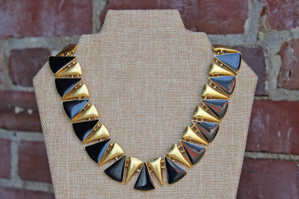 Anne Klein (New York, USA) Black and Gold Triangle-Shaped Collar Necklace