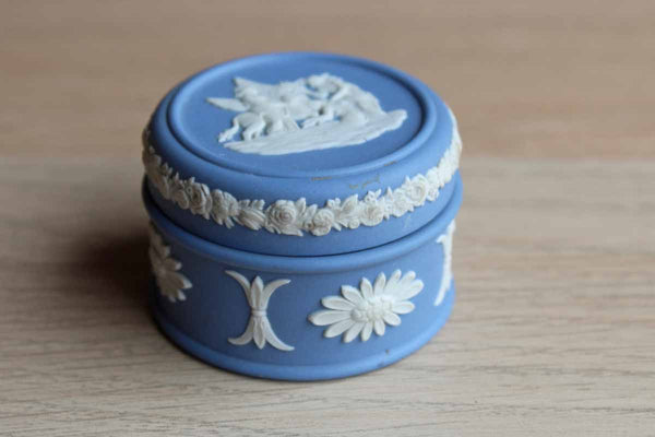 Wedgwood (England) Blue Jasperware Lidded Box with Pegasus Design