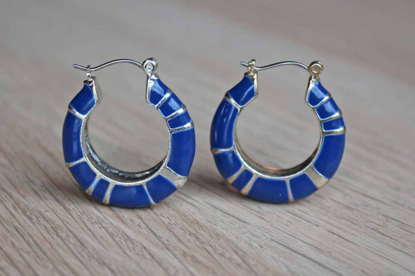 Cobalt Blue and Silver Pierced Hoop Earrings