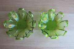 Green Glass Wine Bottle or Candle Trivets, A Pair