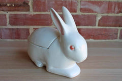 Large Ceramic White Rabbit Box, Made in Italy