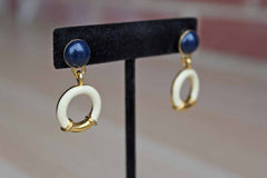 Navy Blue, Ivory and Gold Tone Pierced Dangle Earrings