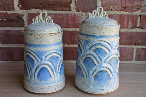 Stoneware Lidded Storage Cannisters with Blue and Gray Speckled Designs, A Pair