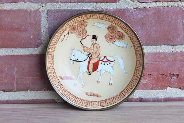A.C.F. (Hong Kong) Japanese Porcelain Ware Brass Enclosed Shallow Bowl Decorated with Man on a Horse